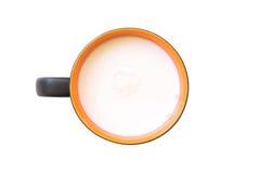 Den bästa sikten av exponeringsglas mjölkar apelsinen och vit i enkelt exponeringsglas Royaltyfri Bild