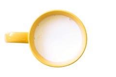 Den bästa sikten av exponeringsglas mjölkar guling och vit i enkelt exponeringsglas Arkivbild