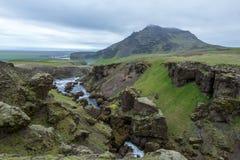 Den bästa sikten av floden leder till den berömda vattenfallet Skogafoss Arkivfoton