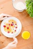 Den bästa sikten av kvinnan som äter sädesslag med jordgubben och, mjölkar royaltyfria foton