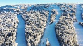 Den bästa sikten av skidar lutningar med elevatorer footage Härlig sikt av dentäckte berglutningen med barrskogen och att skida royaltyfria bilder
