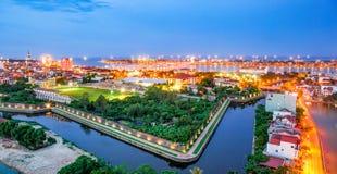 Den bästa sikten av väggen för den forntida staden kallade ` Luy dem ` i Quang Binh, central av Vietnam arkivbilder