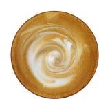 Den bästa sikten av den varma kaffecappuccinokoppen med spiral mjölkar skumisolator Arkivbilder