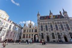 Den bästa sikten på stadshuset, Bruges Arkivfoto