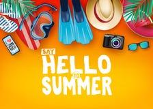 Den bästa sikten säger Hello till det realistiska vektorbanret för sommar i orange bakgrund med och tropiska beståndsdelar som dy vektor illustrationer