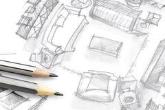 Den bästa sikten skissar freehand av vardagsrum med blyertspennor Arkivfoto