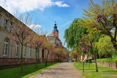 Den Baden Baden kyrkan Stiftskirche och parkerar i Tyskland Arkivbild