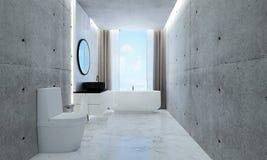 Den badruminredesignen och betongväggen mönstrar bakgrunds- och havssikt Royaltyfria Bilder
