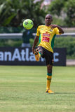 Den Bafana Bafana spelare klumpa ihop sig Arkivfoto