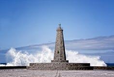 Den Bajamar fyren på ön av Tenerife Arkivfoton