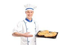 den bakade bagaren panerar uppvisning nytt av att le Fotografering för Bildbyråer