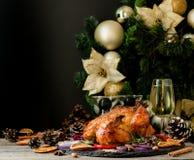 Den bakade kalkon eller chiken eller jul eller för tacksägelsedag för nytt år utrymme för text Royaltyfri Foto
