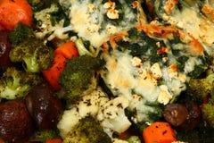 den bakade täta skikten för fetaörtspenat up veggie royaltyfri foto