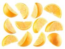 den bakgrund isolerade citronen skivar white Royaltyfri Bild