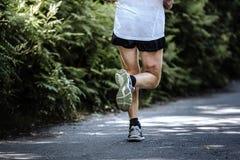 Den bakre sikten av mannen lägger benen på ryggen spring arkivfoton