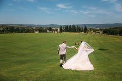Den bakre sikten, nygifta personer promenerar det gröna fältet av golfklubben på en bröllopdag Bruden och brudgummen i bröllop fotografering för bildbyråer