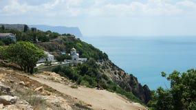 Den Balaklava St George kloster-ortodoxen kloster enligt legend, kloster grundades i 891 av Tauride den grekiska sailoen arkivfoto