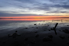 den balatonhungary laken gör fotosolnedgång Royaltyfri Fotografi