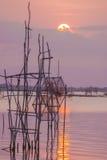 den balatonhungary laken gör fotosolnedgång Arkivbilder
