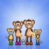 den bali familjen indonesia härmar zooen stock illustrationer