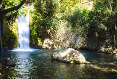 Den Banias vattenfallet och parkerar royaltyfri fotografi