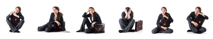 Den bankrudda affärskvinnan som isoleras på vit Arkivfoto