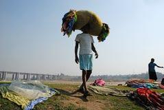 den barakar india floden washermen Fotografering för Bildbyråer
