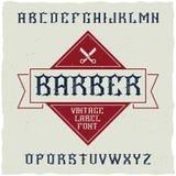 Den Barber Shop etikettstilsorten och prövkopiaetiketten planlägger med garnering och bandet Royaltyfri Foto