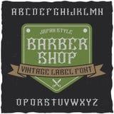 Den Barber Shop etikettstilsorten och prövkopiaetiketten planlägger med garnering och bandet Royaltyfria Foton