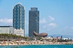 Den Barceloneta stranden. Royaltyfri Foto