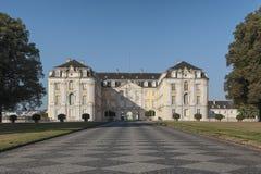 Den barockAugustusburg slotten är en av de första viktiga skapelserna av rokokor i Bruhl nära Bonn Royaltyfri Fotografi