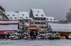 Den Basel julen marknadsför Arkivfoto