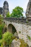Den Bastei bron parkerar in anglosaxaren Schweiz Arkivfoto