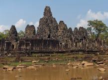 Den Bayon (Prasat Bayon) templet på Angkor i Cambodja Arkivfoton