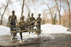 Den Beatles bänken på det Kok Tobe berget nära Almaty, Kasakhstan Arkivfoto