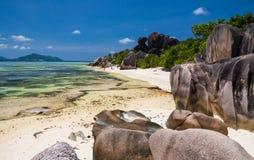 Den bedöva Anse källD'Argent stranden Fotografering för Bildbyråer