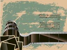 Den begreppsmässiga bakgrunden av filmen med ett foto Arkivfoton