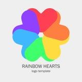 Den begreppsmässiga enkla logoen med en hjärta formar Arkivbild