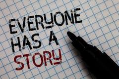Den begreppsmässiga handhandstilvisningen alla har en berättelse Historieberättande för bakgrund för affärsfototext som berättar  royaltyfri fotografi