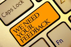 Den begreppsmässiga handhandstilvisningen behöver vi din återkoppling Affärsfototext ger oss dina granskningtankar kommentarer va arkivbild