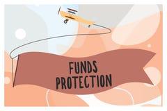 Den begreppsmässiga handhandstilvisningen betalar skydd Investering för initial för del för retur för löften för affärsfototext t royaltyfri illustrationer