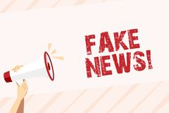 Den begreppsmässiga handhandstilvisningen fejkar nyheterna Falska berättelser för affärsfototext som verkar att fördela på att an vektor illustrationer
