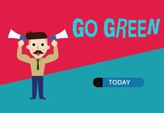 Den begreppsmässiga handhandstilvisningen går grön Affärsfoto som ställer ut göra mer miljövänlig beslut så stock illustrationer