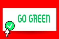 Den begreppsmässiga handhandstilvisningen går grön Affärsfototext som gör mer miljövänlig beslut som, förminskar vektor illustrationer