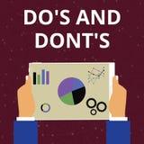 Den begreppsmässiga handhandstilvisningen gör S och gör inte S Regler eller egenar för affärsfototext angående någon aktivitet el stock illustrationer