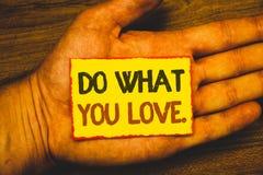 Den begreppsmässiga handhandstilvisningen gör vad du älskar Affärsfoto som ställer ut positiva Desire Happiness Interest Pleasure royaltyfri foto