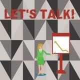 Den begreppsmässiga handhandstilvisningen lät s-samtal Affärsfototext som de föreslår börja konversation på specifikt stock illustrationer