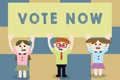 Den begreppsmässiga handhandstilvisningen röstar nu Formell indikering för affärsfototext av valet mellan två eller mer tillvägag stock illustrationer