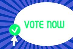 Den begreppsmässiga handhandstilvisningen röstar nu Formell indikering för affärsfototext av valet mellan två eller mer kurser av stock illustrationer