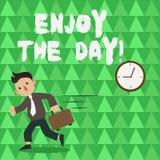 Den begreppsmässiga handhandstilvisningen tycker om dagen Livsstil för njutning för affärsfototext som lycklig kopplar av Tid royaltyfri illustrationer